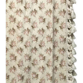 Pair Drapes 11' x 6' Cream / Brown Laura Ashley Small Floral Bouquets / Fringe