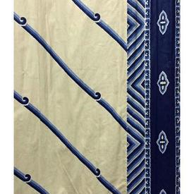 """Pair Drapes 10'6"""" x 8' Royal Stripe & Chevron Print Cotton"""