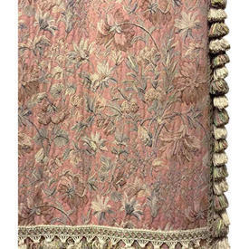 Pair Drapes 11' x 6' Peach Floral Tapestry / Fringe