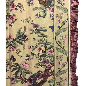 "Pair Drapes 10'6"" x 6' Yellow Floral Chintz / Shantung Lined/Frill"