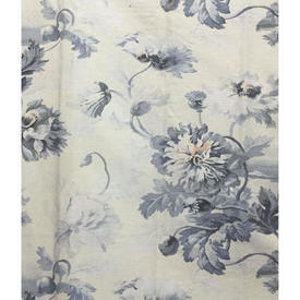 """Pair Drapes 10'6"""" x 4' Grey Faded Floral Linen"""