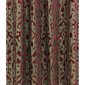 Pair Drapes 11' x 6' Maroon Voyage Rococo Silky Scroll Chenille