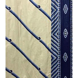 """Pair Drapes 10'6"""" x 12' Royal Stripe & Chevron Print Cotton"""