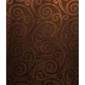 """Pair Drapes 10'6"""" x 8' Chestnut Scroll Silky Weave"""
