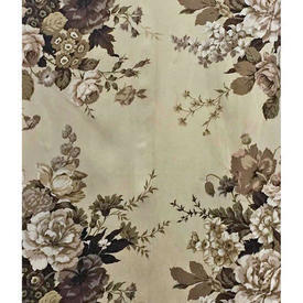 "Pair Drapes 10'3"" x 10' Beige / Brown Large Floral Bouquets Sateen"
