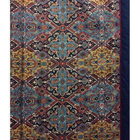 """Pair Drapes 10'6"""" x 6' Blue Aztec Geo Cotton / Contrast Lined (Tab top)"""