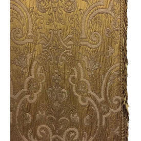 "Pair Drapes 10'6"" x 4' Gold Heavy Floral Silk Brocade / Fringe"