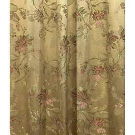 "Pair Drapes 10'3"" x 4' Yellow Silky Floral Brocade"
