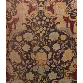 "Pair Drapes 10'3"" x 4' Chestnut Faded Floral Print Linen"