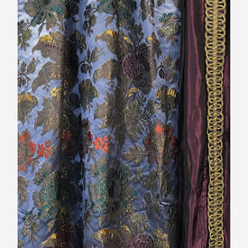 """Pair Drapes 10'9"""" x 6' Mauve Aged Floral Brocade / Silk Lined"""