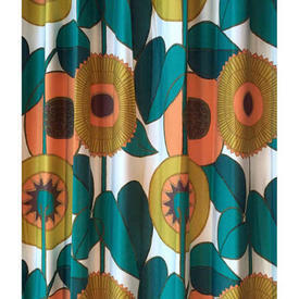 "Pair Drapes 10'3"" x 8' Teal / Orange Large Abstract Sunflowers Sateen"