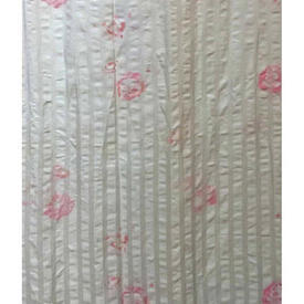 "Pair Drapes 10'3"" x 4' White / Rose Faded Floral Seersucker"