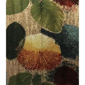 "Pair Drapes 10'9"" x 8' Olive / Burgundy Large Leaf Print Linen"