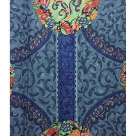 "Pair Drapes 10'9"" x 8' Royal Designers Guild Couronne Floral Medallion Chintz"