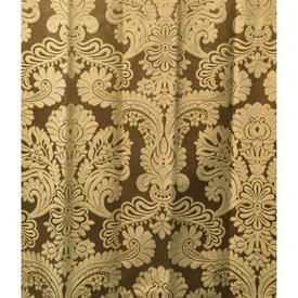 "Pair Drapes 10'9"" x 6' Gold Floral Damask"