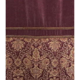 "Pair Drapes 10'9"" x 4' Plum Faded Velvet / Brocade Inset Border / Fringe"