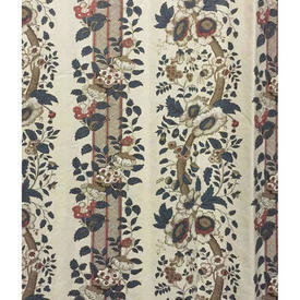 "Pair Drapes 10'9"" x 4'1"" Grey Warners Greef Salt Box House/Hickory Hill Floral Stripe Cotton"
