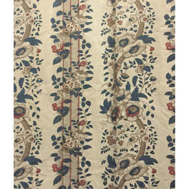 "Pair Drapes 10'9"" x 4'3"" Grey Warners Greef Salt Box House/Hickory Hill Floral Stripe Cotton"