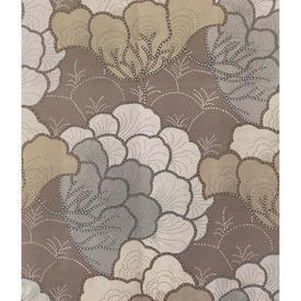 Pair Drapes 10' x 4' Beige Large Floral Sateen
