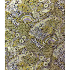Pair Drapes 10' x 4' Lime Textra Honiton Floral Fans Print