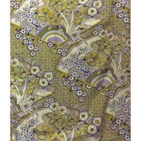 Pair Drapes 10' x 4' Lime Textra Honiton Floral Fans Print