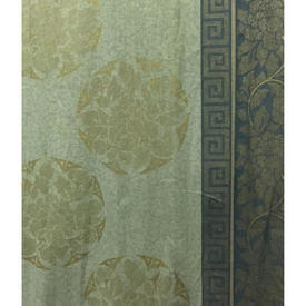 Pair Drapes 10' x 12' Sea Hill & Knowles Leaf Medallion Stencil