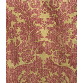 Pair Drapes 10' x 8' Red Warners Floral Damask Print Linen