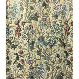 """Pair Drapes 10' x 4'6"""" Teal Country Flowers Tapestry"""