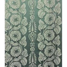 Pair Drapes 10' x 4' Aqua Large Floral Stripe Damask