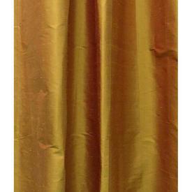 "Pair Drapes 10' x 3'7"" Orange Silk Shantung"