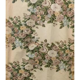 Pair Drapes 10' x 2' Sand / Khaki Floral Chintz (PP Rings)