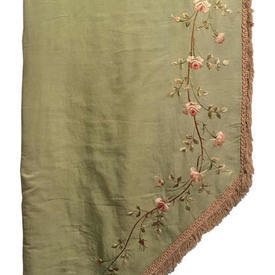 Pair Drapes 10' x 2' Olive Silk / Tiny Floral Vines Fine Emb / Fringe (Shaped)