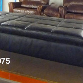 6' Black Leather 'Actona' Button Top Chaise Longue [Day Bed]