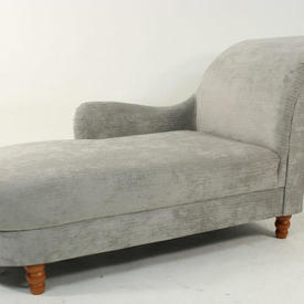 Silver Colour Fabric Roll Arm/D End Chaise  Lounge