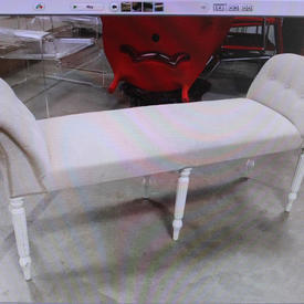 Beige Fabric  2 End 6 White Leg Mpf Buttoned Chaise Longue