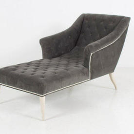 Grey Button Velvet Studded Winged Chaise on Silver Wood Feet