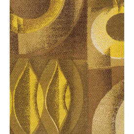 Pair Drapes 3' x 4' Mustard Ovals Patt Barkcloth
