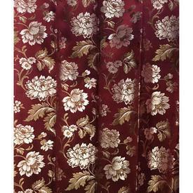 Pair Drapes 3' x 4' Maroon Floral Brocade