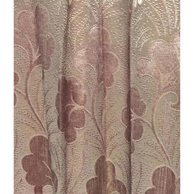 Pair Drapes 3' x 3' Rose Silky Floral Embossed