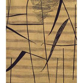 "Pair Drapes 3'3"" x 4' Yellow Heal's Tarn Leaf Slub Linen Lucienne Day 1957"