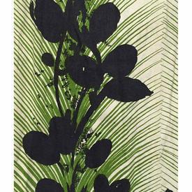 Pair Drapes 3' x 4' Lime / Black Wemco Silhouette Large Leaf Stripe Print