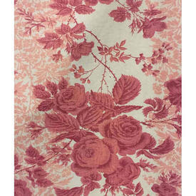 """Pair Drapes 3'3"""" x 4' Pink Roses Stripe French Linen"""