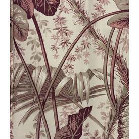 Pair Drapes 3' x 4' Burgundy / Ecru Leaf Print