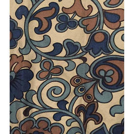"""Pair Drapes 3'3"""" x 2'9"""" Navy Large Leaf Scroll Cotton"""