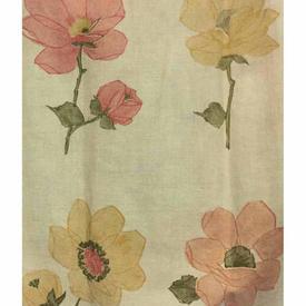"Pair Drapes 3'3"" x 6' Peach Large Geo Flowers Cotton"