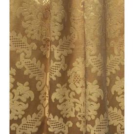 "Pair Drapes 3'3"" x 4' Gold Geo Silky Damask"
