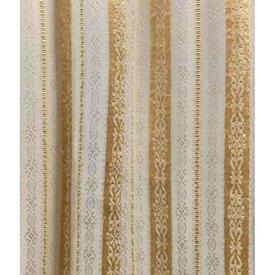 "Pair Drapes 3'3"" x 6' Yellow Silky Stripe Embossed"
