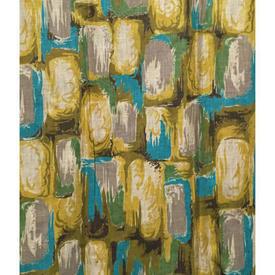 """Pair Drapes 3'6"""" x 4' Turquoise / Yellow Bricks Print Cotton"""