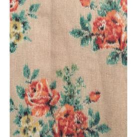 """Pair Drapes 3'6"""" x 4' Orange / Emerald Floral Print Linen"""