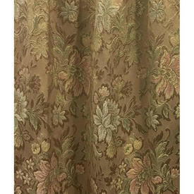 "Pair Drapes 3'6"" x 4' Sand Floral Brocade"